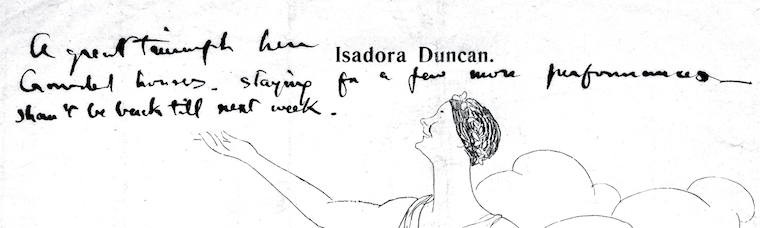 Cartoon of Isadora Duncan with holograph text by Martin Shaw