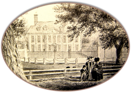 A large tree over-arching a pond with two ladies of the eighteen-forties and a child infront of a large house