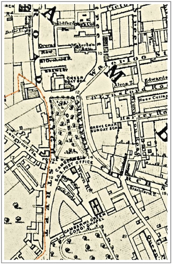 "map of Camberwell Green showing road to the West of the Green as 'High Street""."