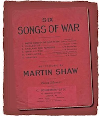 Front cover of Six Songs of War in simple black type printed on red paper