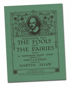 green front cover of Martin Shaw's, The Fools and Fairies, his adaptation of Shakespeare's play A Midsummer Night's Dream, showing line drawing of Shakespeare and detailed surround