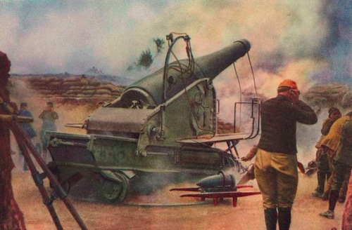 Soldiers put hands to their ears as their canons fire shells off to the distant enemy