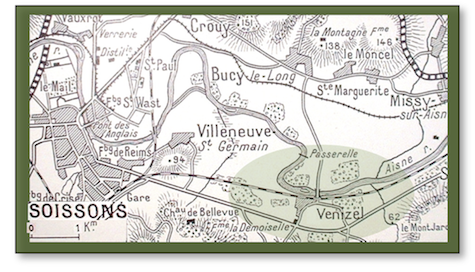 Map of area along the river Aisne from Soissons to Venizel, the area around Venizel at bottom-left shaded green in an oval shape. Bucy-le-long is a hamlet to the north of Venizel.
