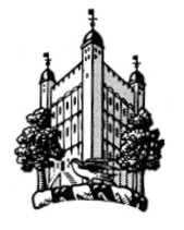 crest for the Martin Shaw Trust showing the White Tower of the tower of London flanked by two trees and fronted  by a small bird