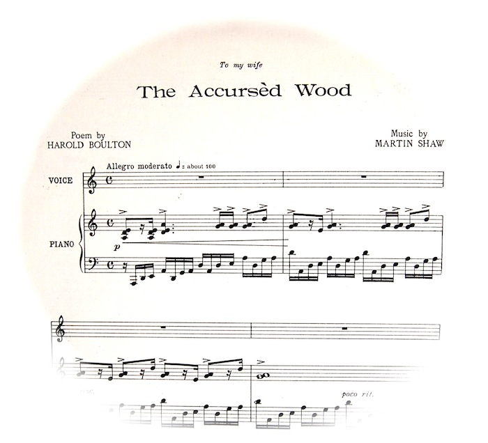 Sheet music fading out in a circle etc. with title etc. Instructions for playing are 'Allegro Moderato'