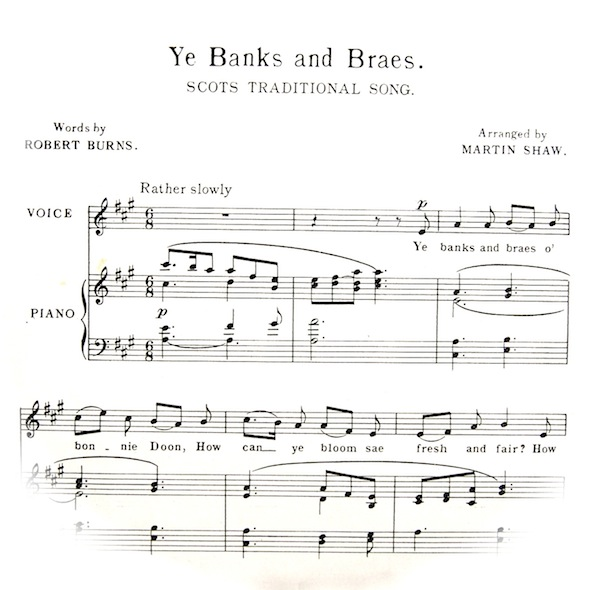 Traditional Scots Song. First bars of sheet music fading out into a circle with the title etc. Musical instructions,          'rather slowly'.
