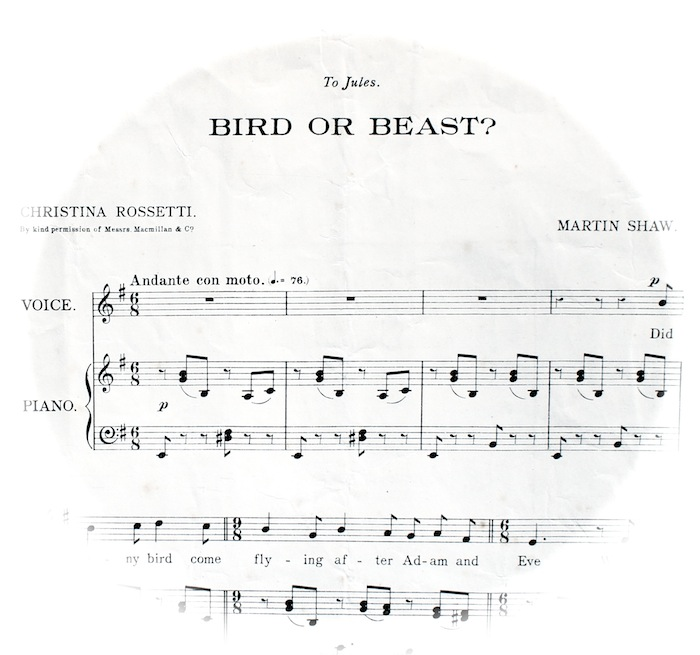 sheet music fading out into a circle, 'andante con moto'.