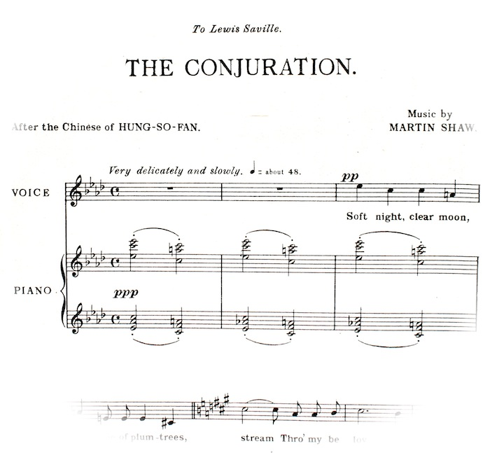 First few bars of 'The Conjuration' sheet music. Instruction, 'very delicately and slowly'.