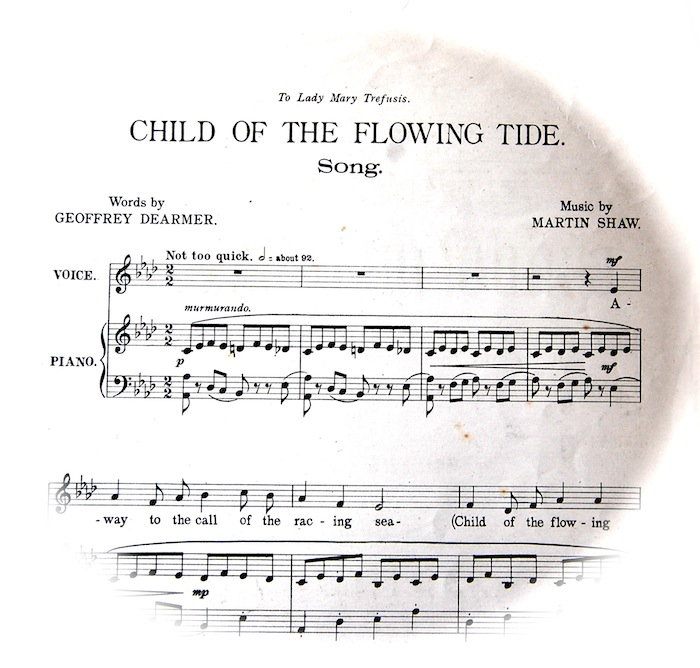 sheet music for Child of the Flowing Tide fading out in a circular shape. Instruction 'not too quick'.