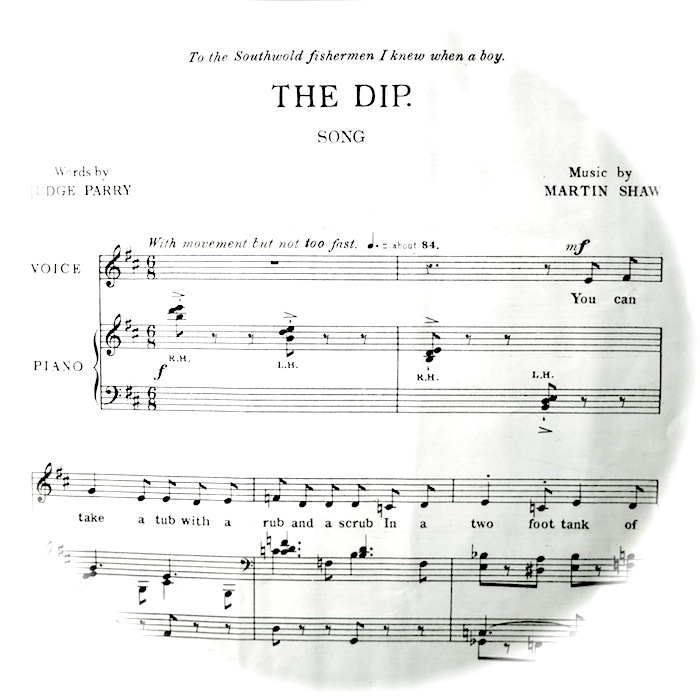 sheet music of 'the dip' fading out into a circle shape. Instructions, 'with movement but not too fast'.