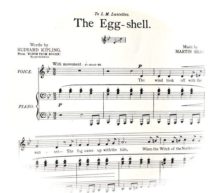 sheet music of first few bars of 'the Egg Shell'. Musical instruction, 'with movement'.