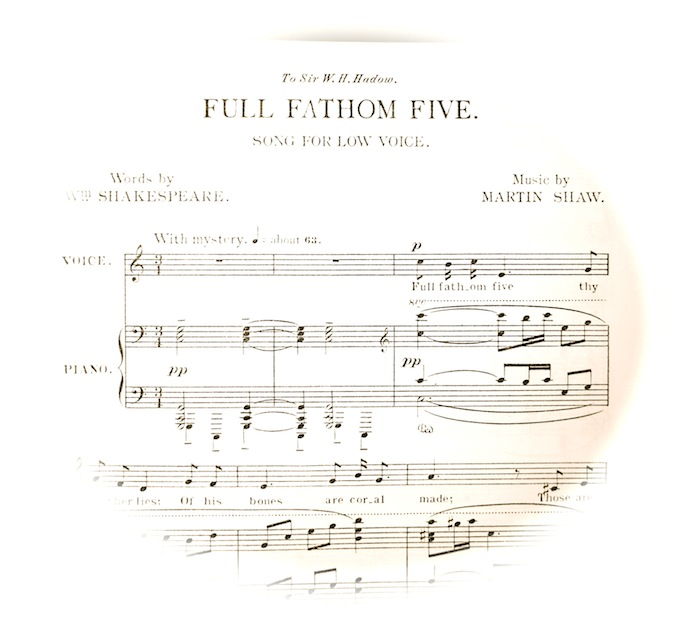 sheet music of first few bars fading out into a circle; instructions, with mystery,          speed 'about sixty-three'.