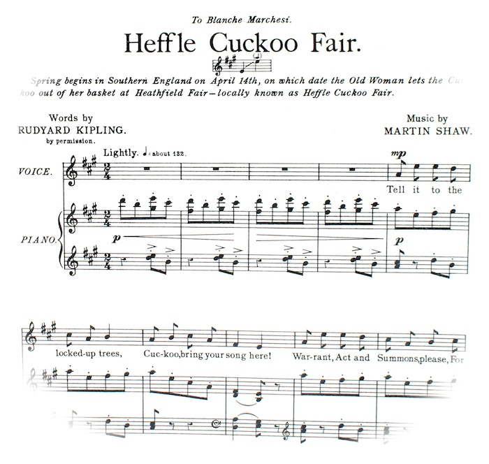 sheet music at the top of which explains: Spring begins in Southern England on April the fourteenth, on which date the Old Woman lets the cuckoo out of her basket at Heathfield Fair - locally known as Heffle Cuckoo Fair. To be played and sung 'lightly'.
