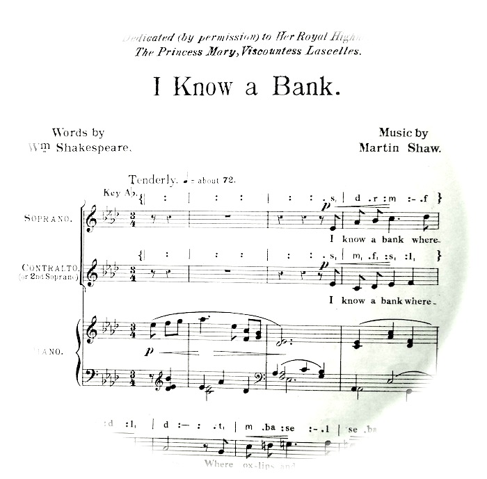 sheet music of 'I know a bank' fading out into a circle. Instruction 'tenderly'.