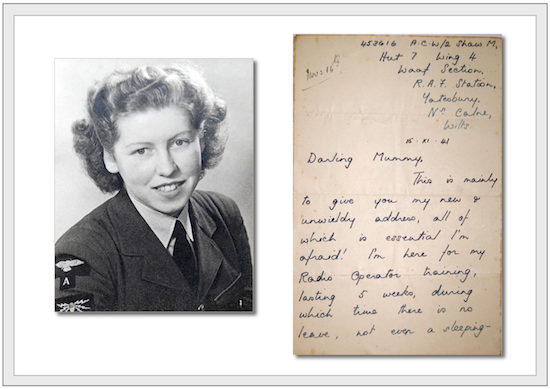 Double image of a young Waaf sergeant with fair wavy hair and the first page of a letter
