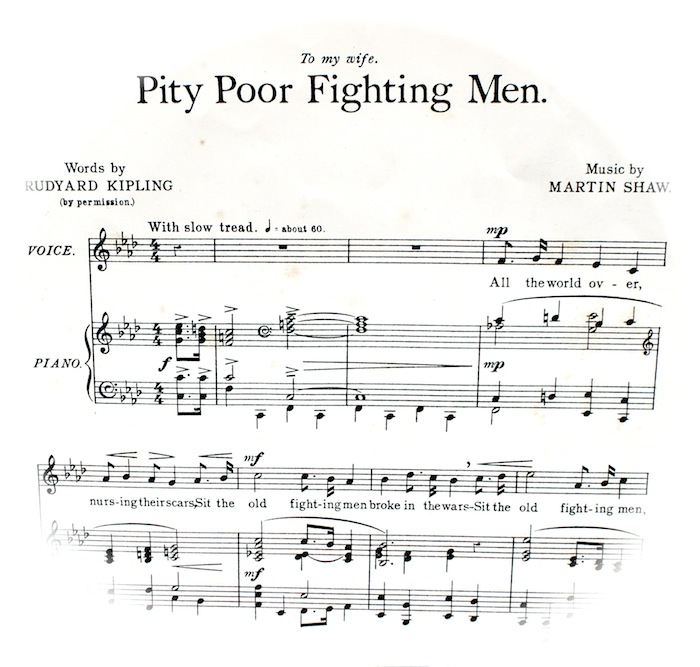 sheet music of PIty the Poor Fighting Men. Instructions for playing, 'with slow tread'.