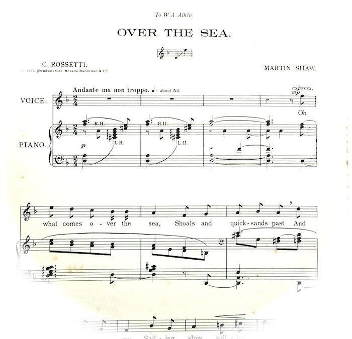 photograph of first page of sheet music. Instructions, 'Andante ma non troppo'.
