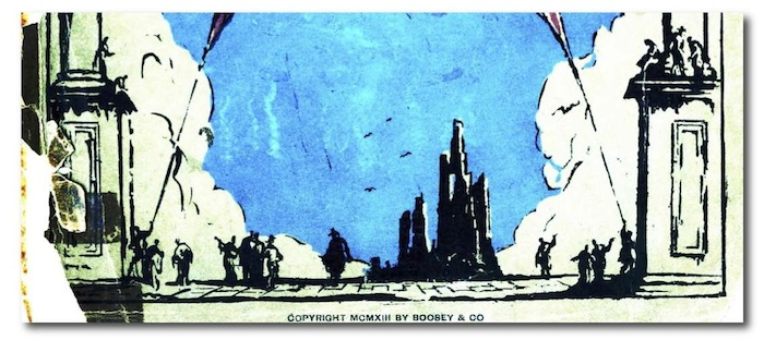 part of an illustration which shows various small black figures silhouetted against a blue sky background,flanked by the square base of of large pillars