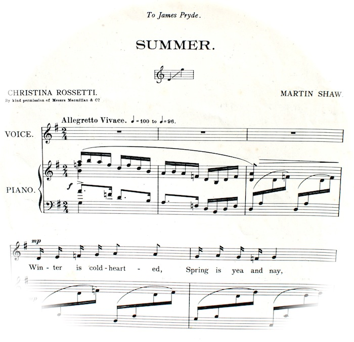First bars of 'Summer' sheet music fading out into a circle.  Musical Instructions, 'Allegretto Vivace'