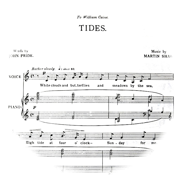 first bars of sheet music fading out into a circle shape; instruction 'rather slowly'.