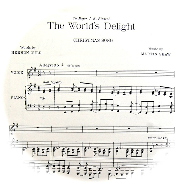 Sheet music of this Christmas song fading out into a circle. Playing instructions are 'Allegretto'.